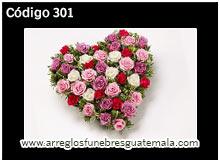 corazones de rosas naturales para condolencias