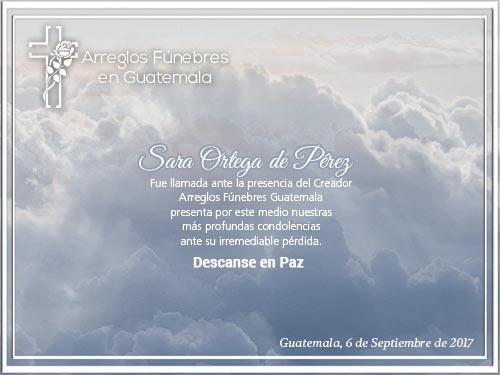 Obituario de Sara Ortega de Pérez